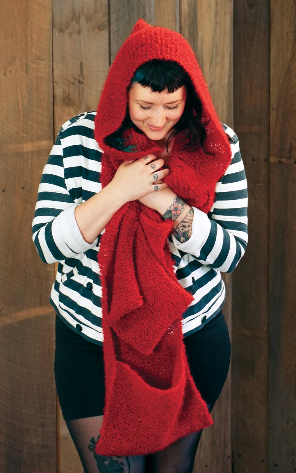 Knitting Patterns Gimme Shelter  Hooded Scarf with Pockets
