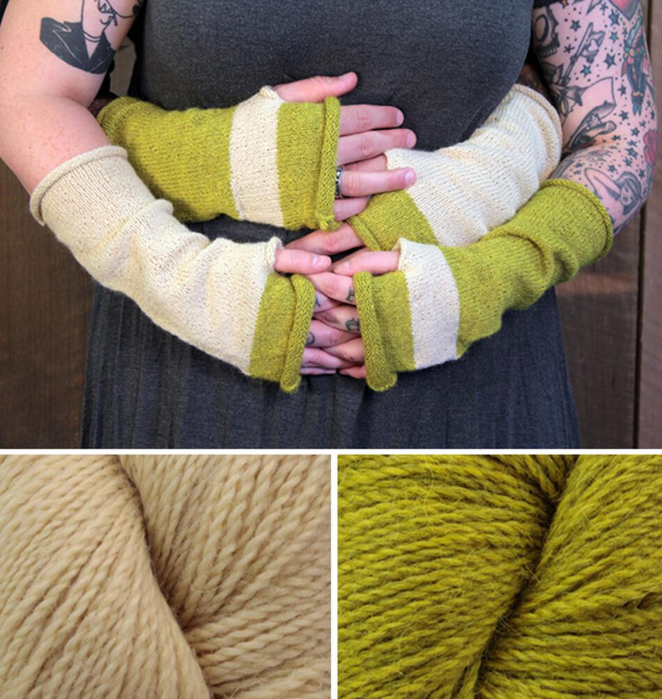 Knitting Kits Whole Wide World  Fingerless Mitts Kit Green