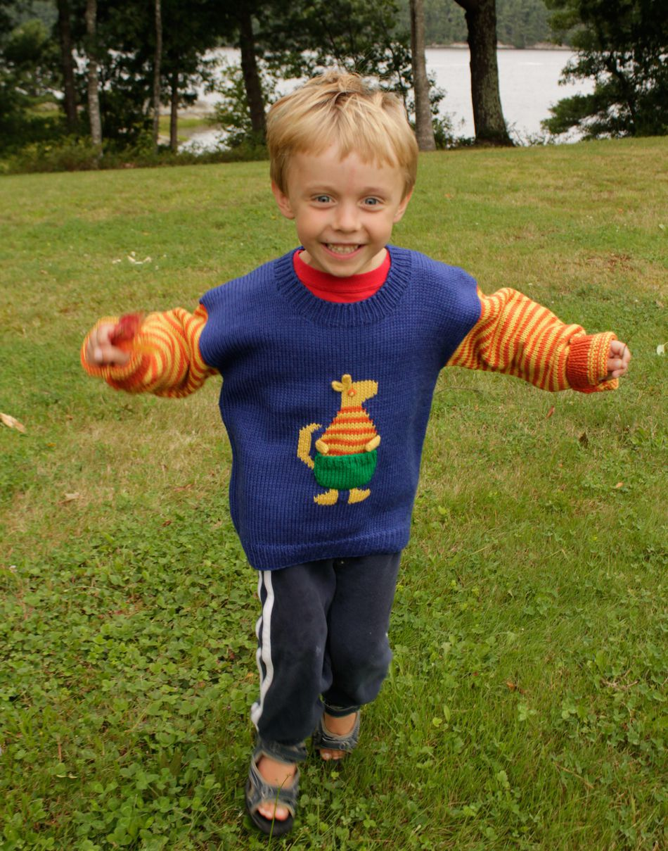 Kangaroo Hoodie Knitting Pattern : Childrens Kangaroo Sweater, Knitting Pattern - Halcyon Yarn