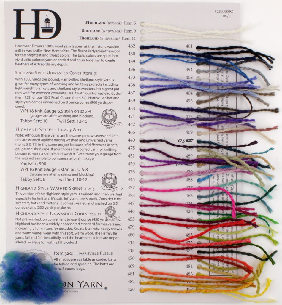 MultiCraft Equipment Harrisville Fiber for Felting and Spinning  Sample Card