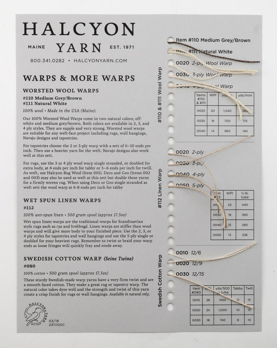 MultiCraft Equipment Warps and More Warps Sample Card  Wool and Linen Rug and Tapestry Warps