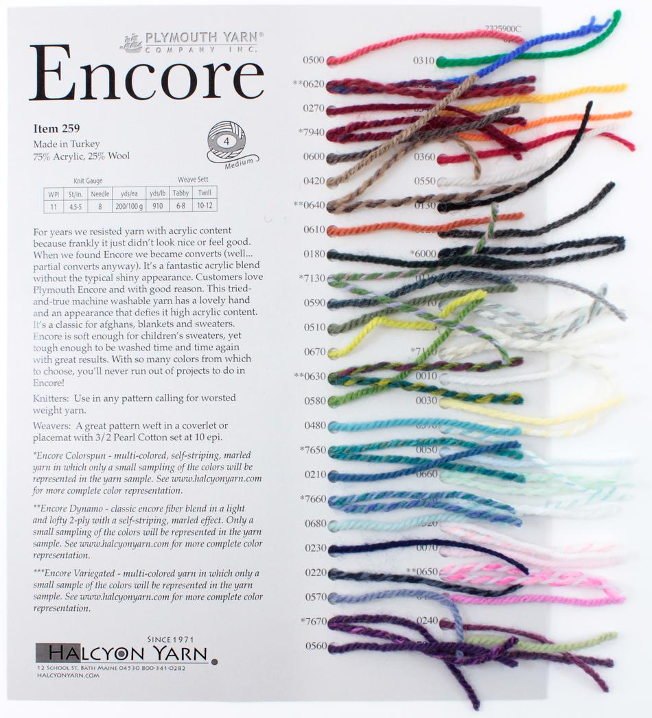 MultiCraft Equipment Plymouth Encore Worsted Sample Card