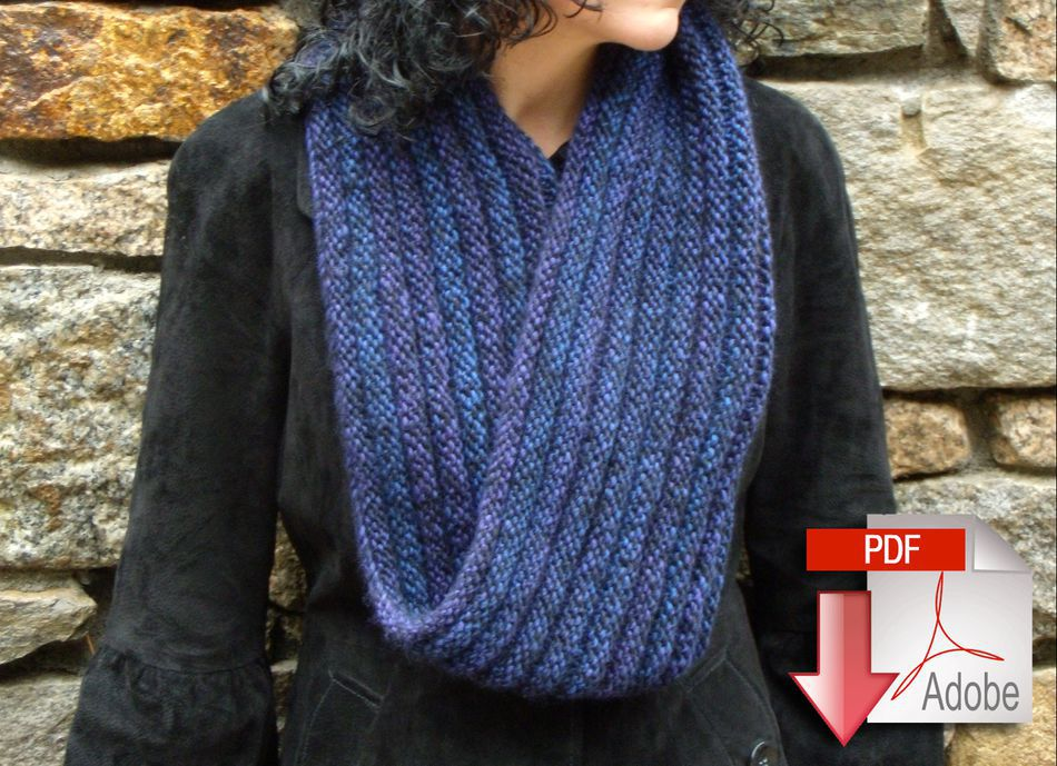 Knitting Patterns Rippling Ringlet Infinity Cowl  Pattern download