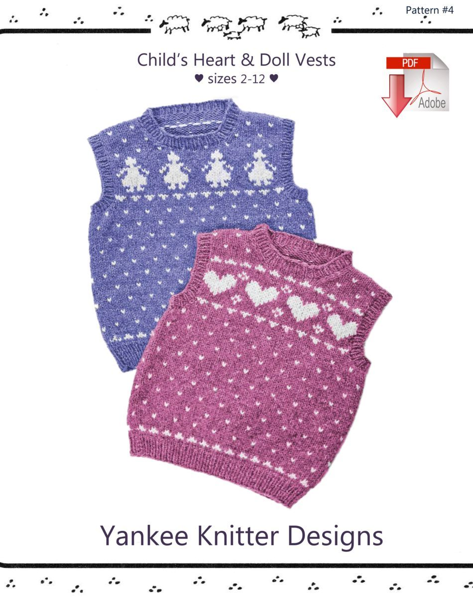 Knitting Patterns Childaposs Heart and Doll Vests  Yankee Knitter   Pattern download