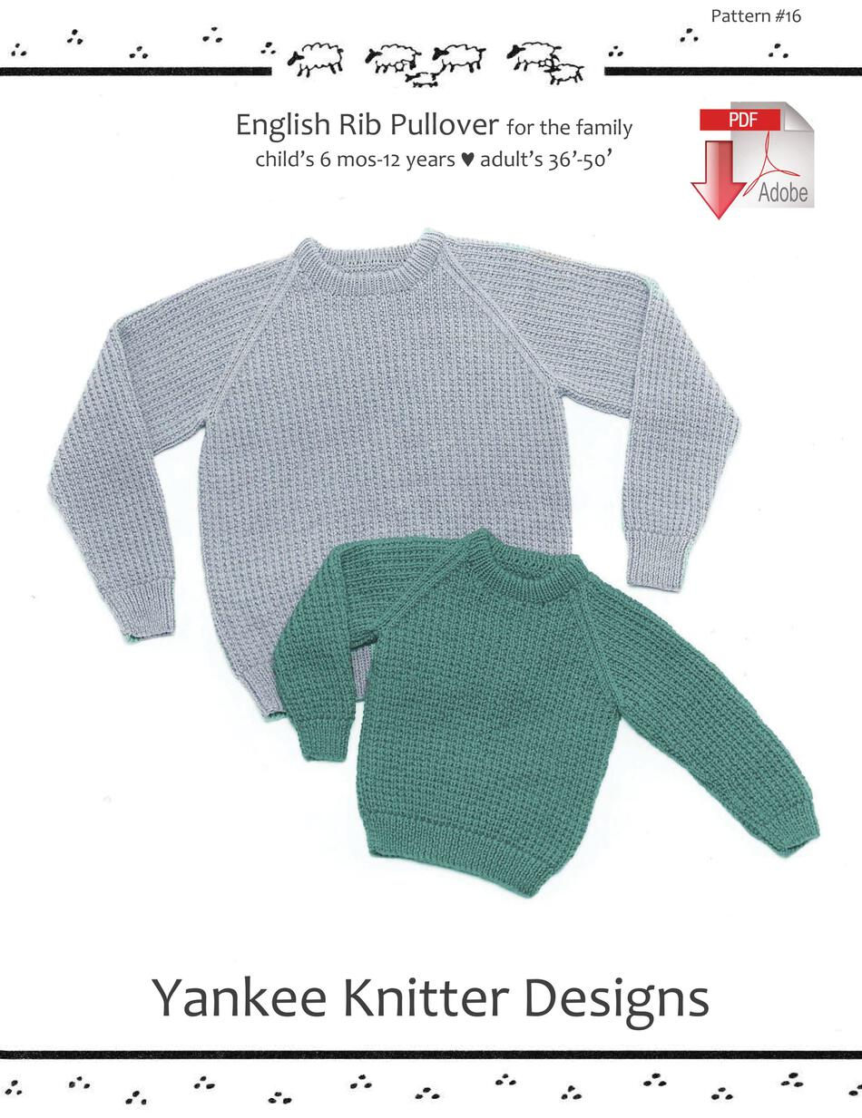 Knitting Patterns English Rib Pullover for children and adults  Yankee Knitter