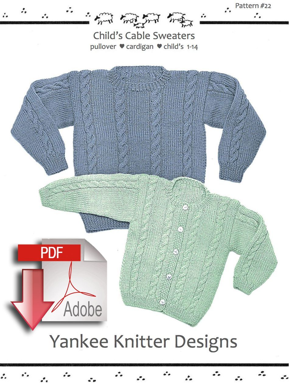Knitting Patterns Childaposs Cable Sweater in pullover and cardigan  Yankee Knitter   Pattern download