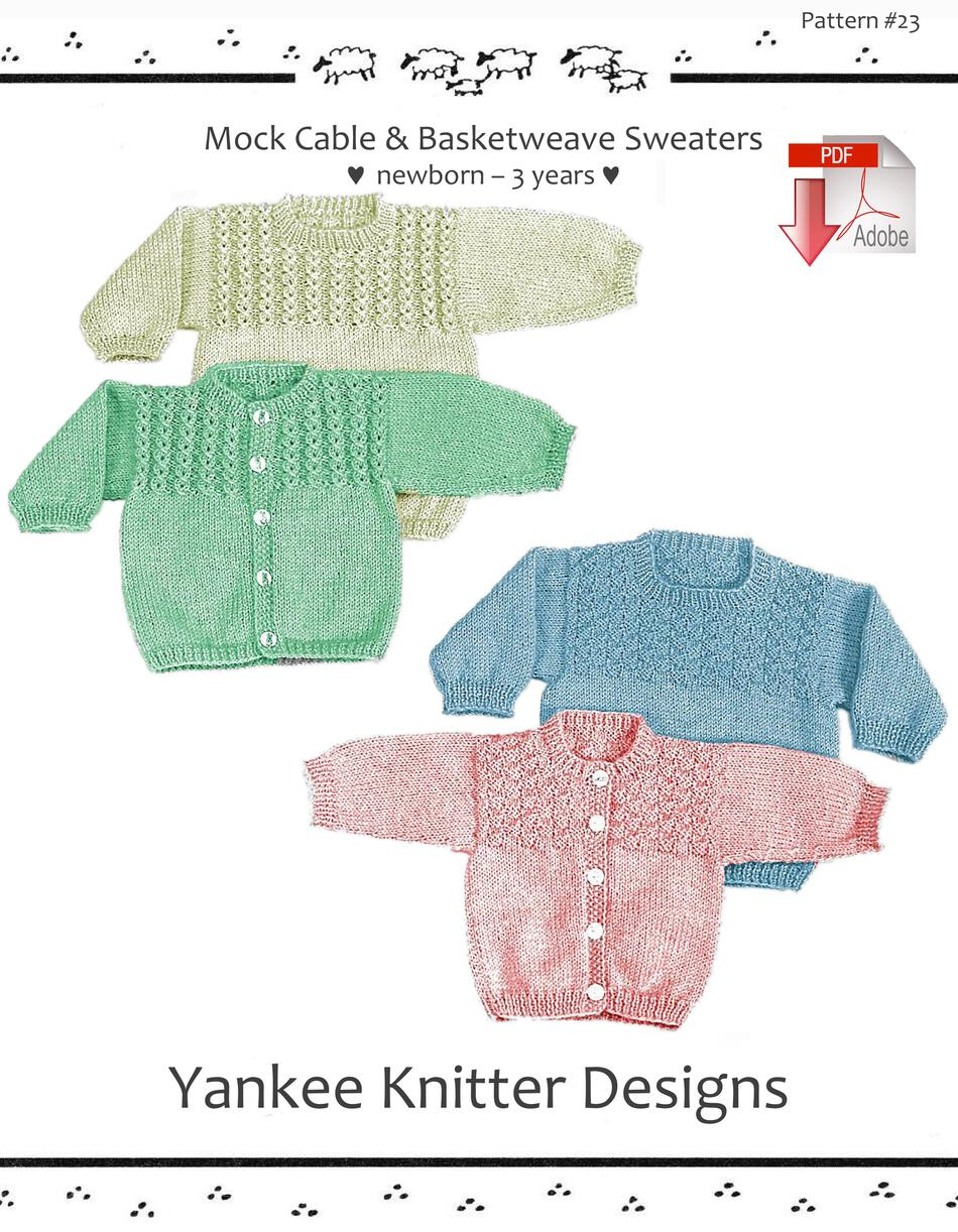 Knitting Patterns Mock Cable and Basketweave Sweaters  Yankee Knitter   Pattern download