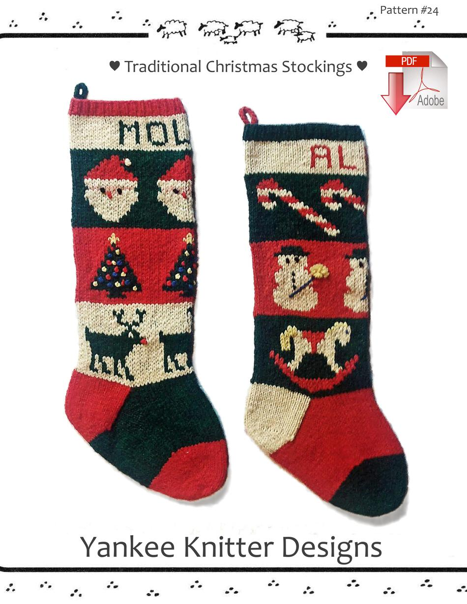 Traditional Christmas Stockings - Yankee Knitter - Pattern download ...