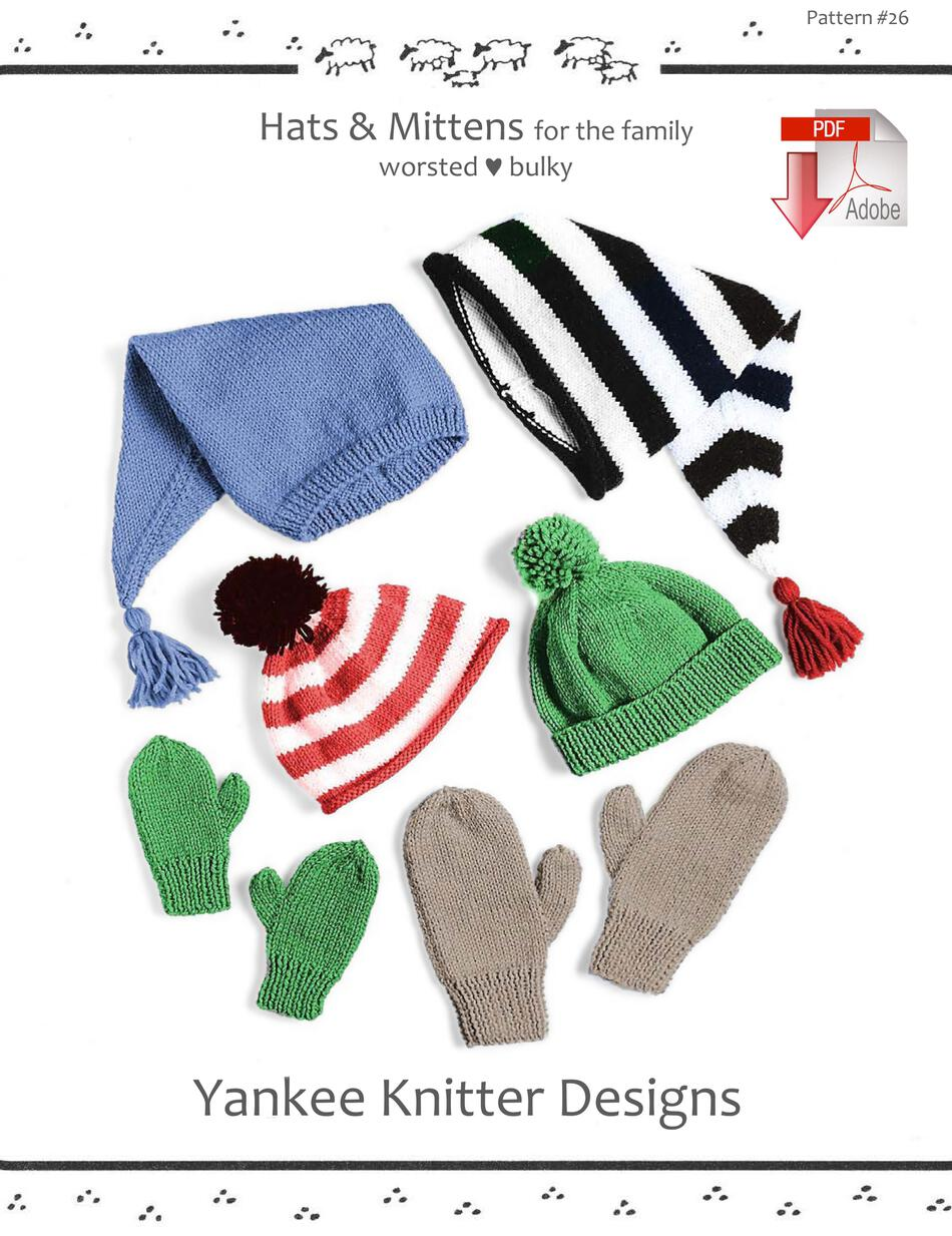 Knitting Patterns Hats and Mittens  Yankee Knitter   Pattern download