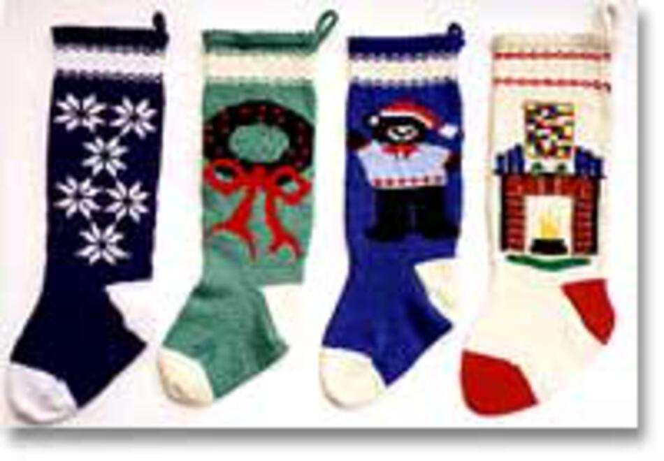 Knitted Christmas Stockings III 1019, Knitting Pattern - Halcyon Yarn
