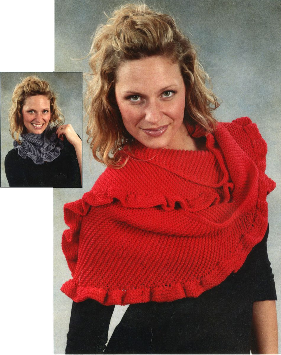 Free Knitting Pattern For Ruffled Shawl : Ruffled Scarf or Shawl, Knitting Pattern - Halcyon Yarn