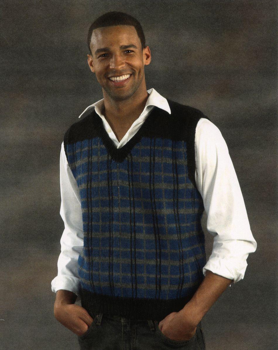 Knitting Men S Vest Free Pattern : Clearance men s plaid vest knitting pattern halcyon yarn