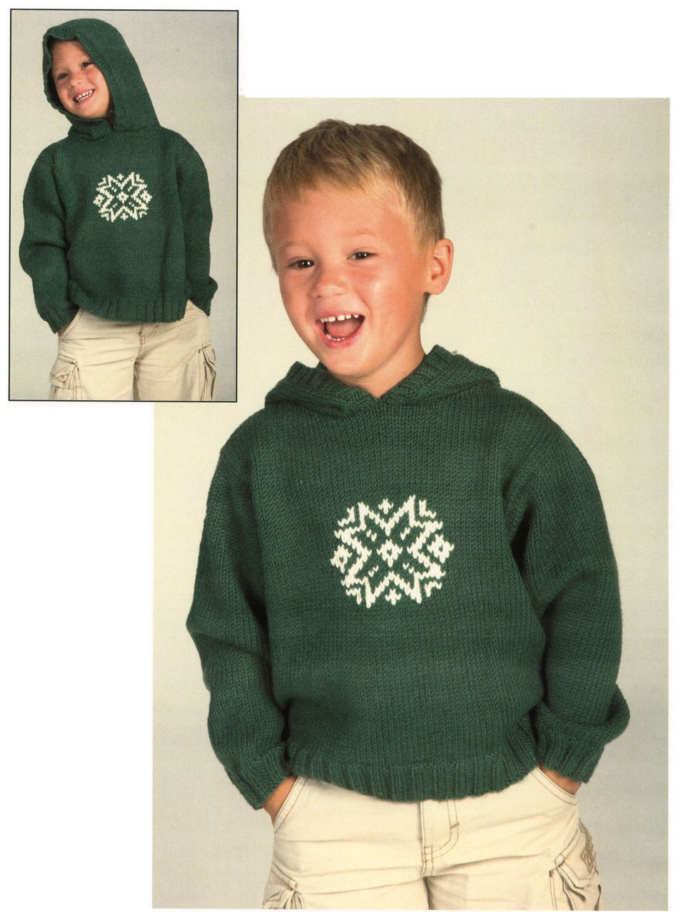 Knitting Pattern Hoodie Child : Childs Snowflake Hoodie, Knitting Pattern - Halcyon Yarn
