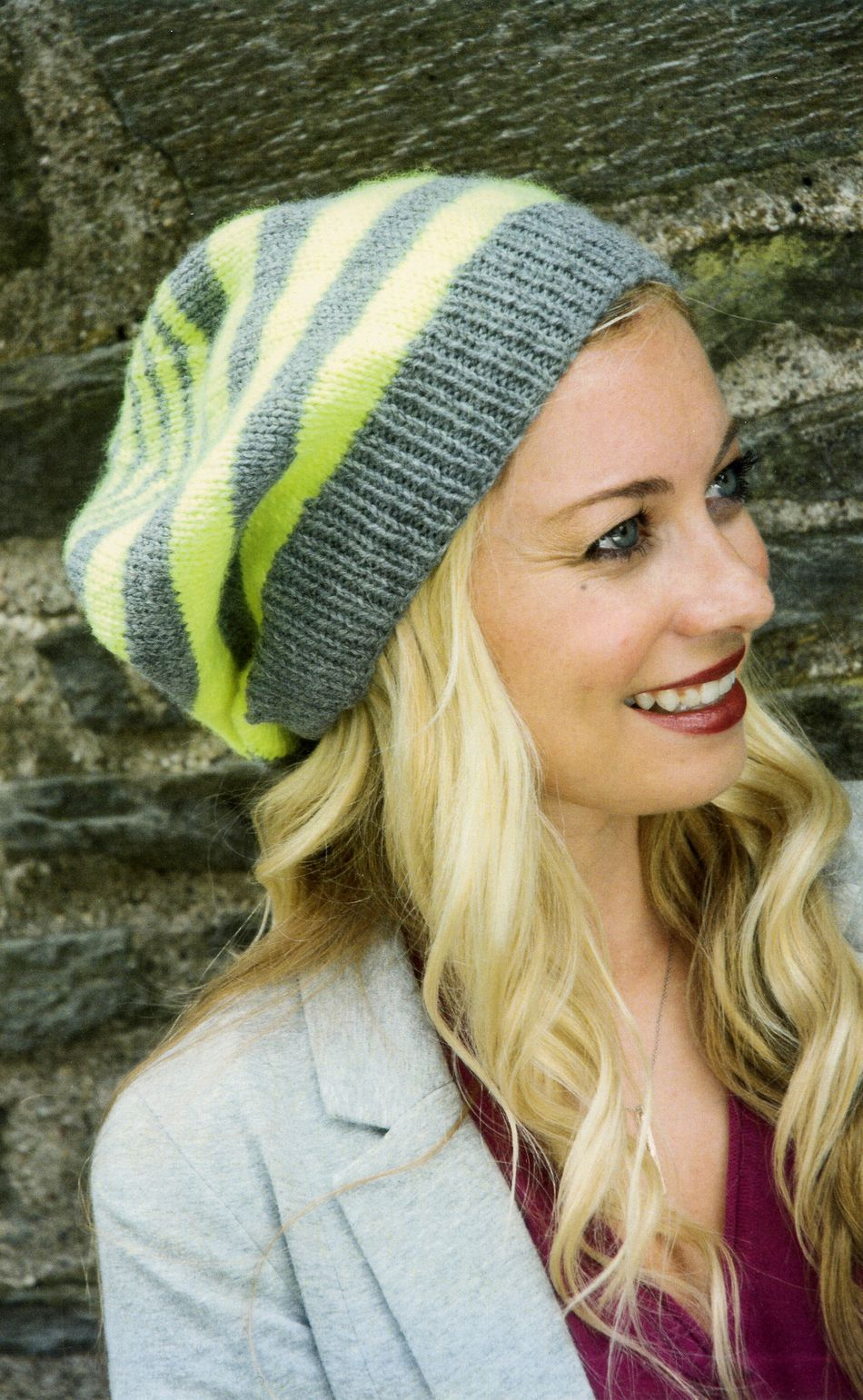 Knitting Patterns Multi Stripe Slouch Hat for the Family