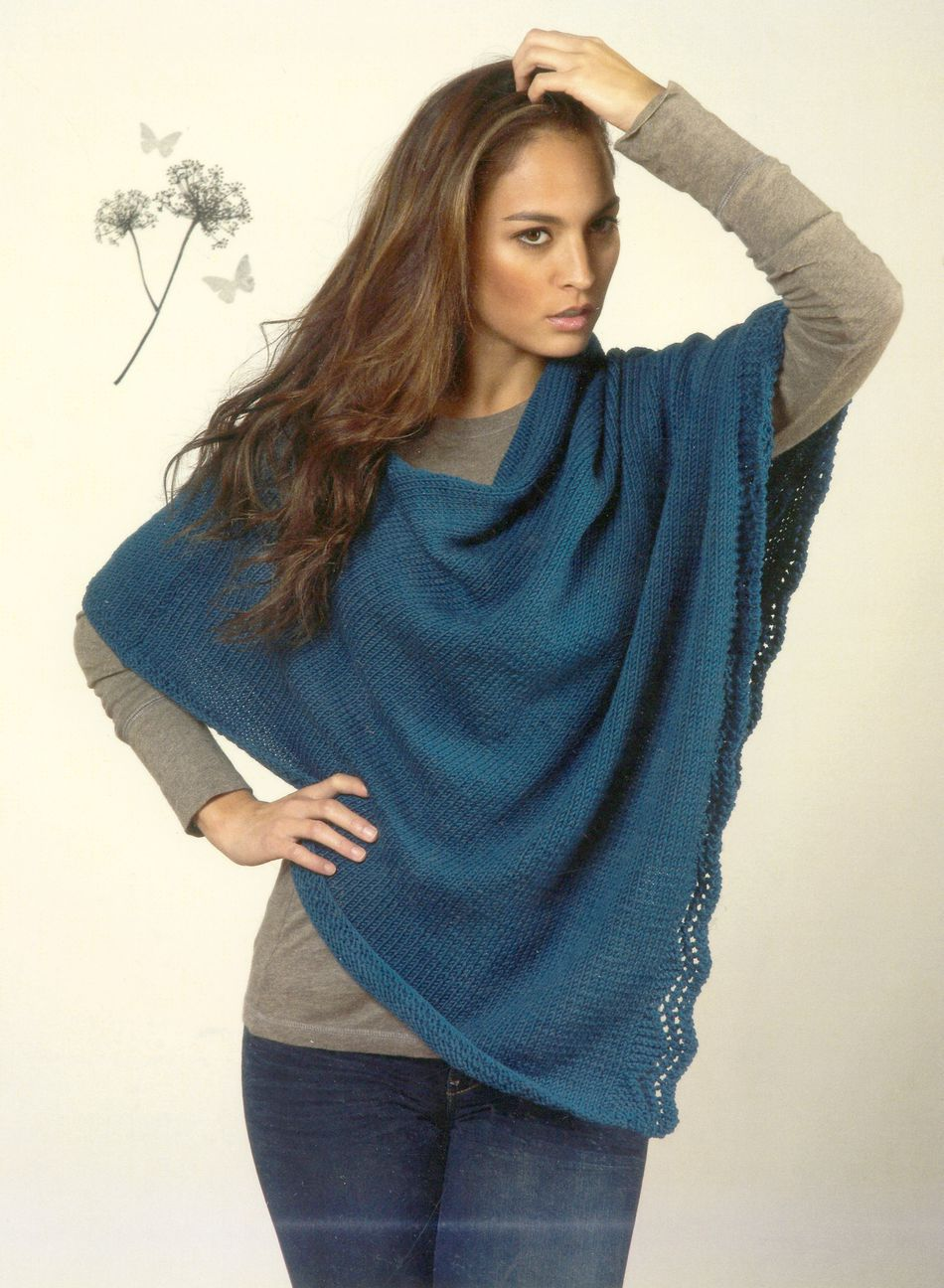 Women S Poncho Knitting Pattern Halcyon Yarn