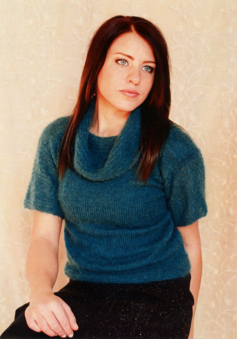 CLEARANCE Woman\'s Short Sleeve Cowl Neck Pullover, Knitting Pattern ...