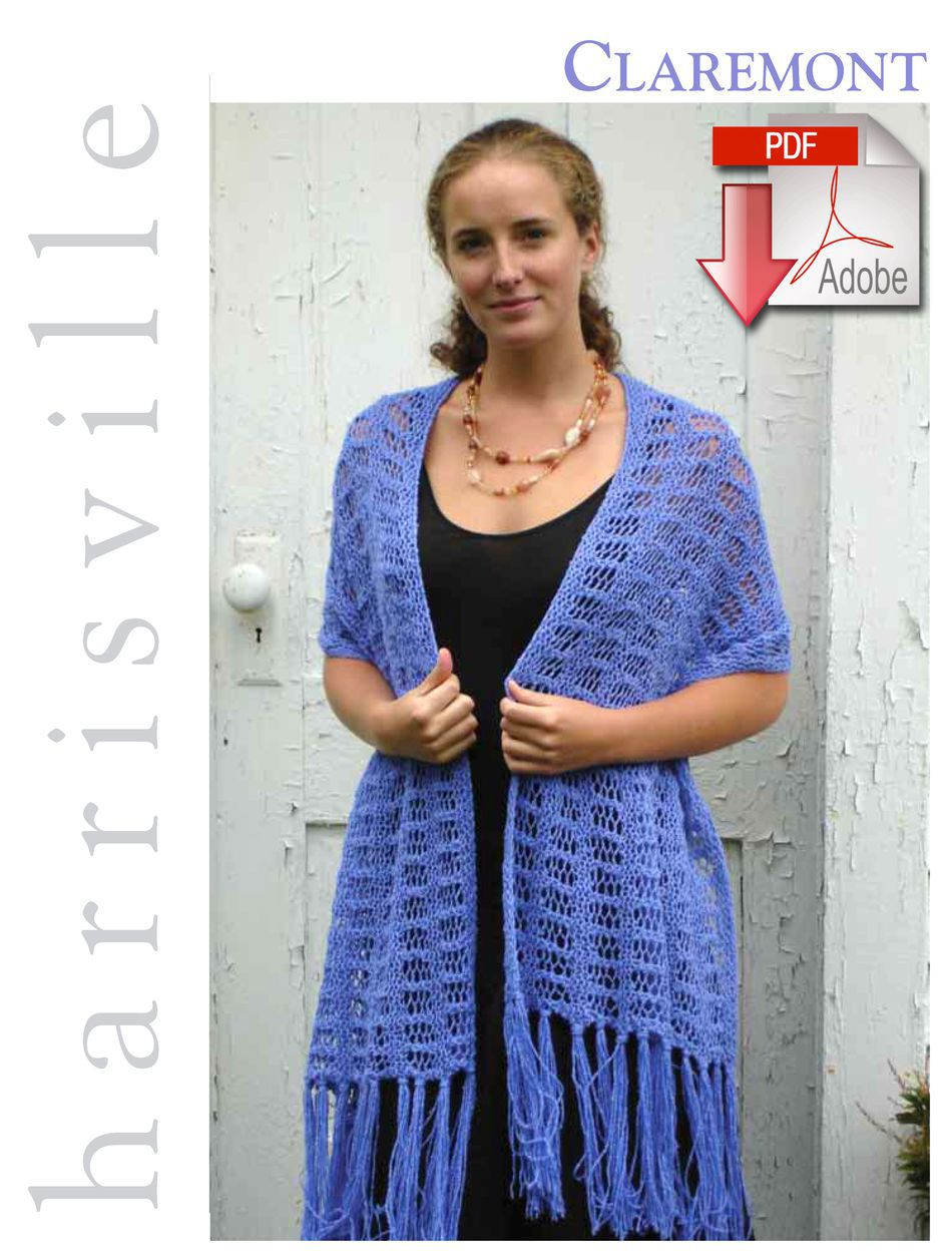 Knitting Patterns Claremont Stole  Pattern download Harrisville Designs
