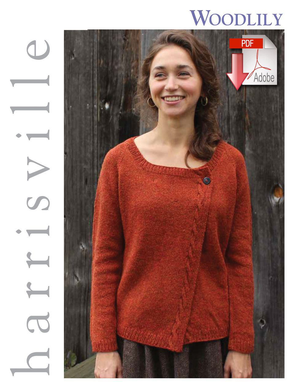 Knitting Patterns Woodlily Cardigan  Pattern download Harrisville Designs