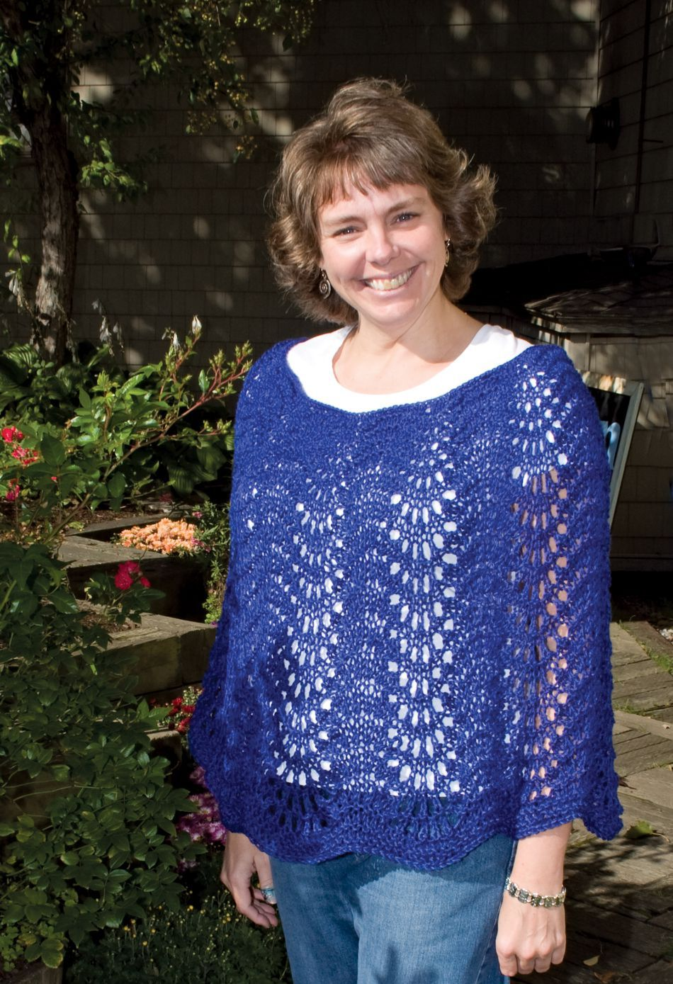 Lace Poncho Knitting Pattern : Easy Lace Poncho by Knitting Pure and Simple, Knitting Pattern - Halcyon Yarn