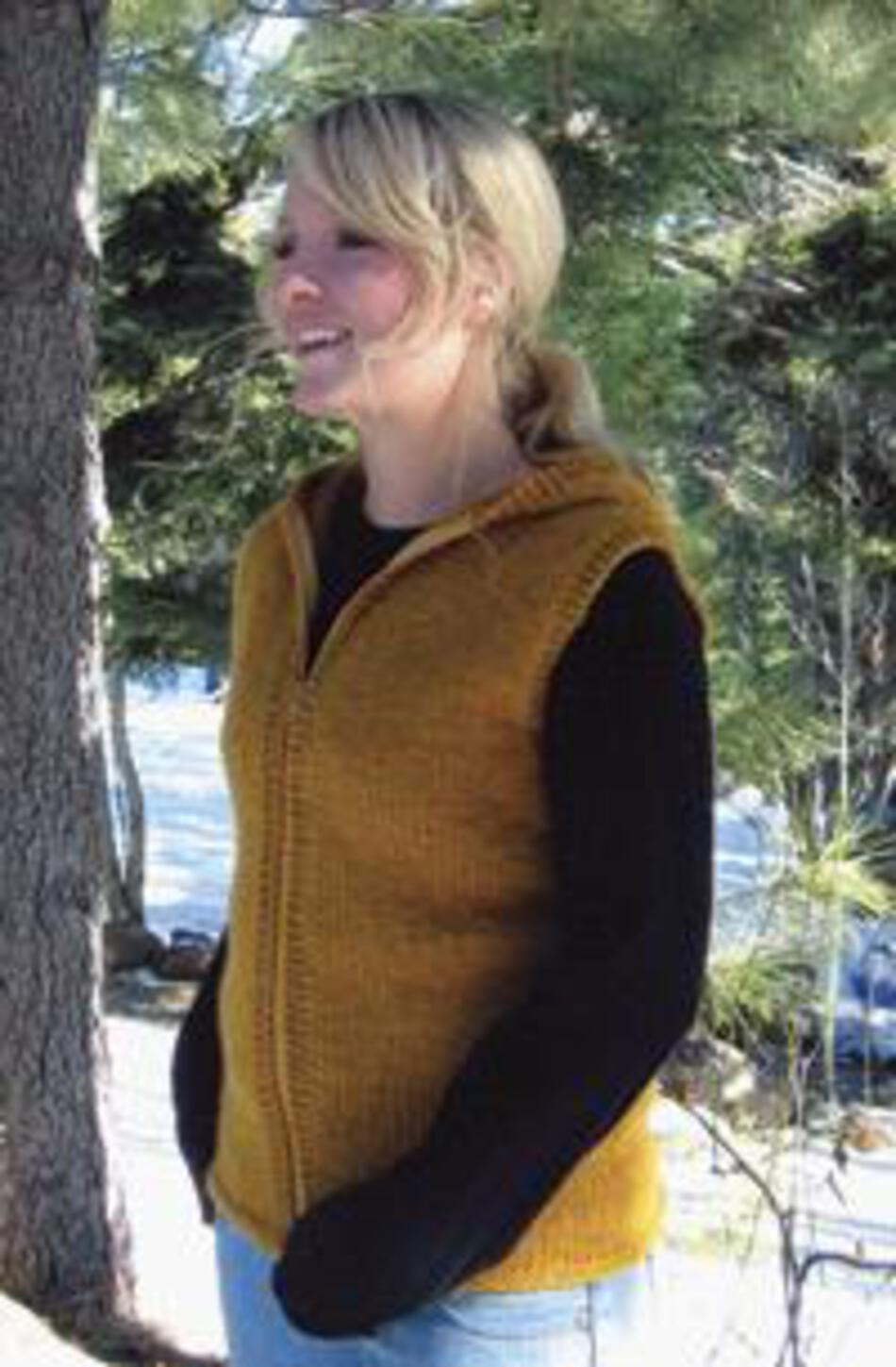 Knitting Patterns Bulky Hooded Vest for Women by Knitting Pure and Simple