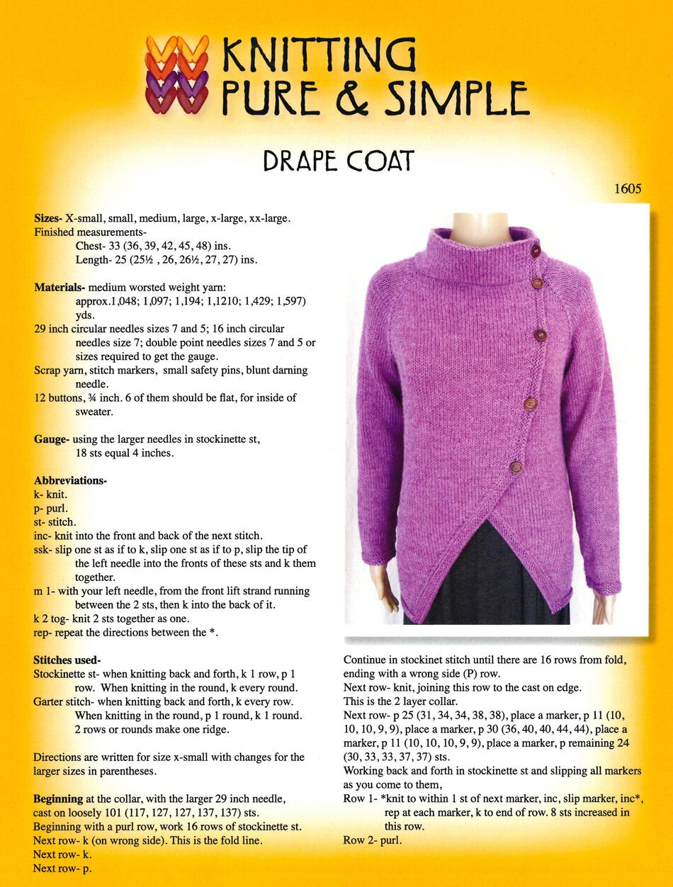 Drape Coat By Knitting Pure And Simple Knitting Pattern Halcyon Yarn