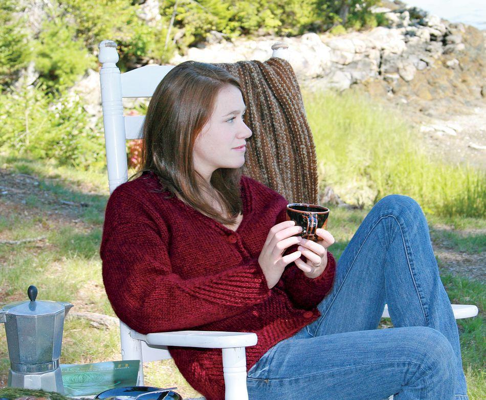 Diagonal Detail V-Neck Cardigan, Knitting Pattern ...