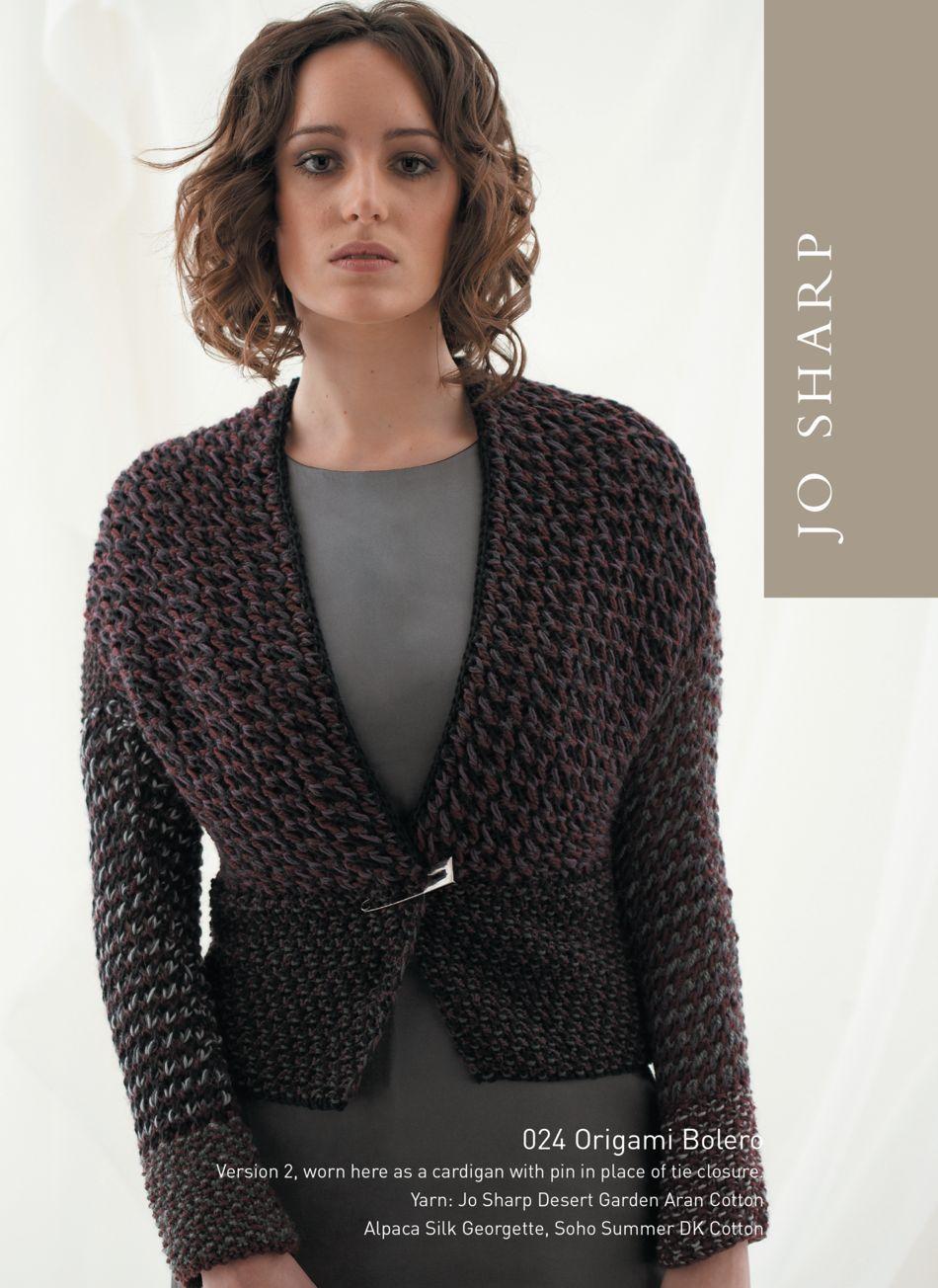 Jo Sharp Origami Bolero Pattern, Knitting Pattern - Halcyon Yarn