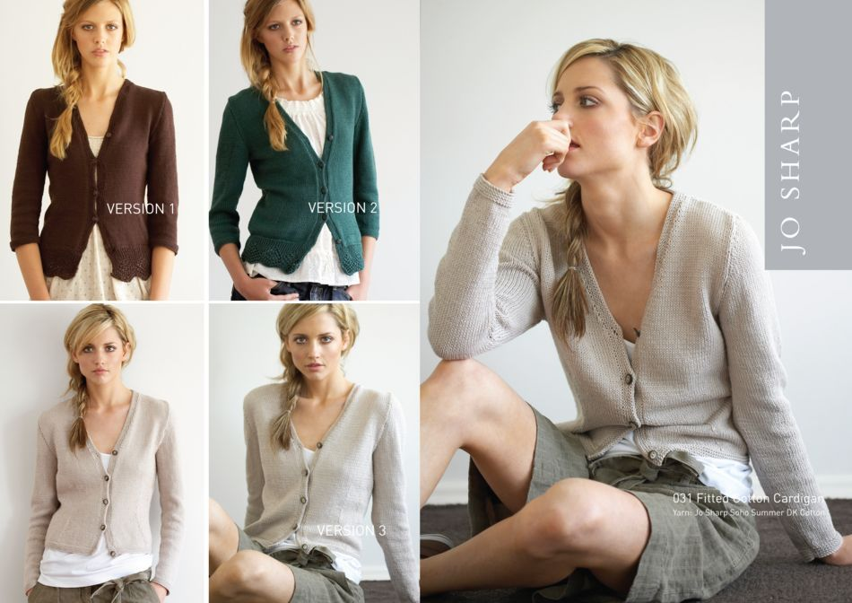 Knitting Jumper Pattern : Jo sharp fitted cotton cardigan pattern knitting