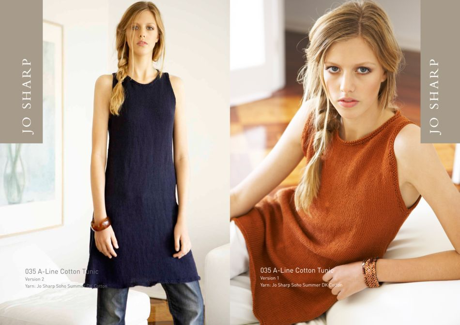 Knitting Patterns Jo Sharp ALine Cotton Tunic and Fitted Singlet Pattern