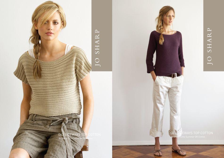 Jo Sharp Sideways Ribbed Top Pattern, Knitting Pattern - Halcyon Yarn