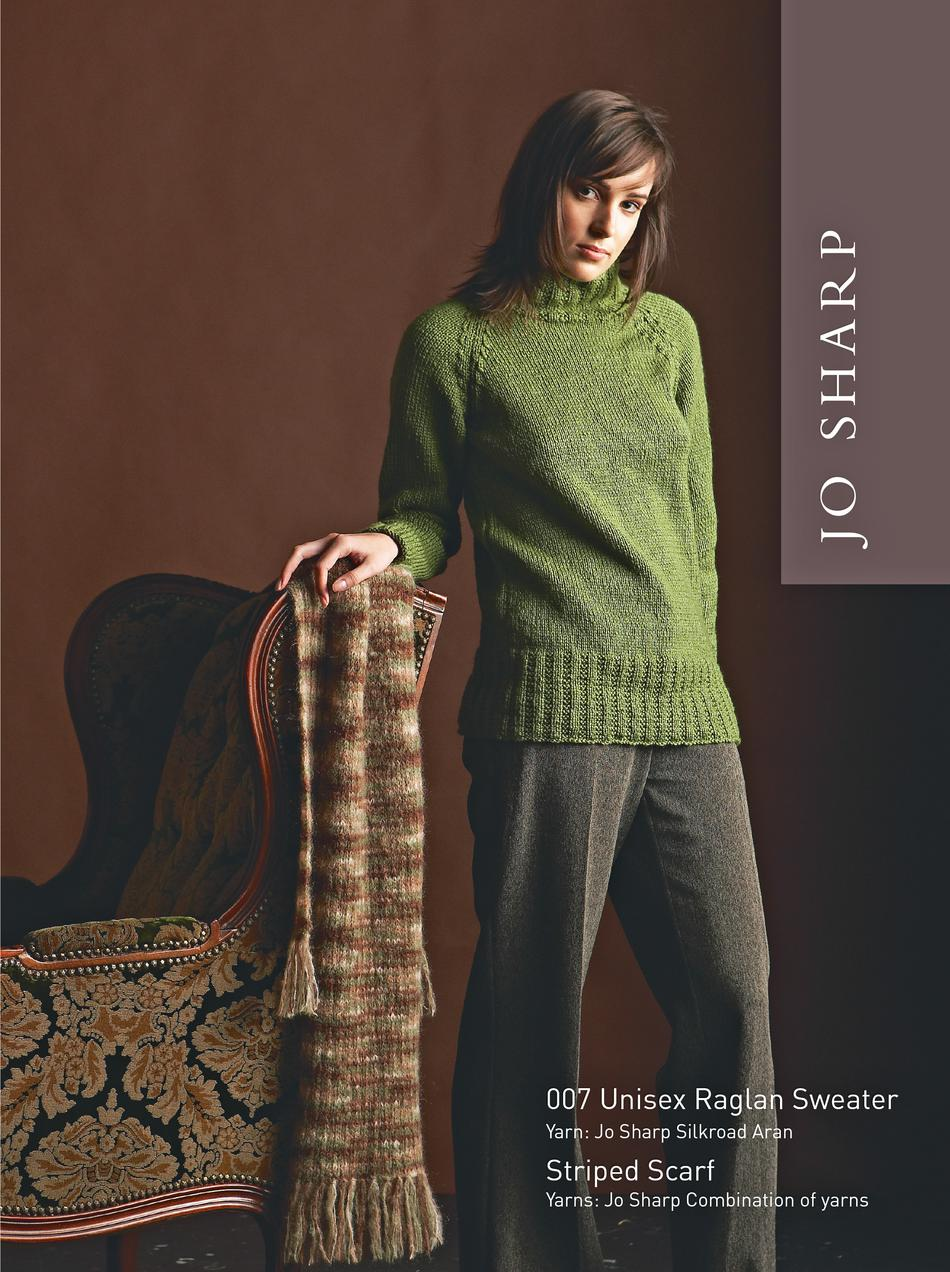 Knitting Patterns Jo sharp Unisex Raglan Sweater and Striped Scarf Pattern