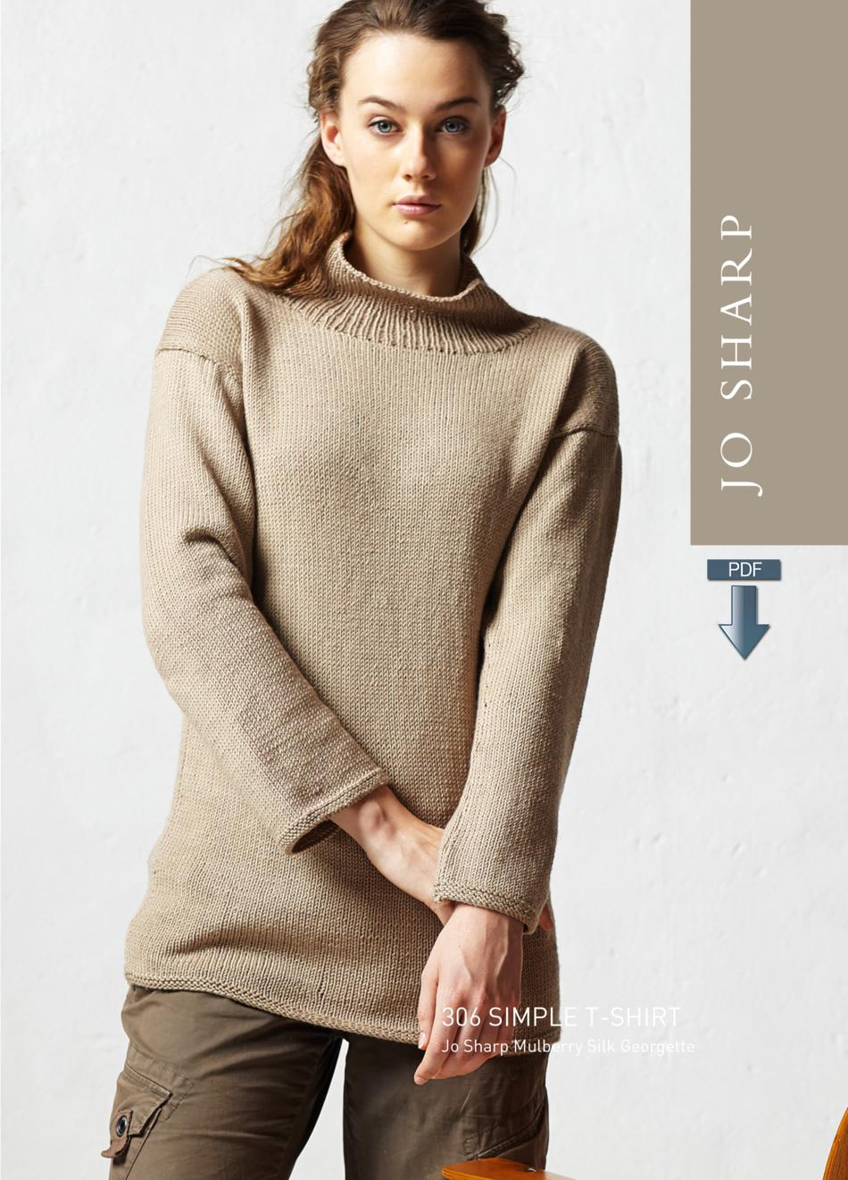 Knitted Shirt Pattern : Jo Sharp Simple T-Shirt Pattern - Pattern Download, Knitting Pattern - Halcyo...