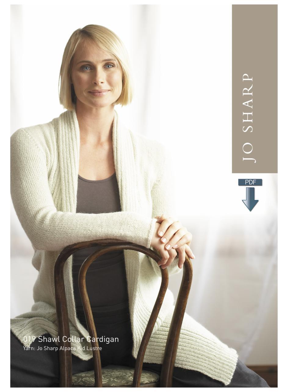e467d783e51e22 Jo Sharp Shawl Collar Cardigan and Coat Pattern - Pattern Download Knitting  Pattern