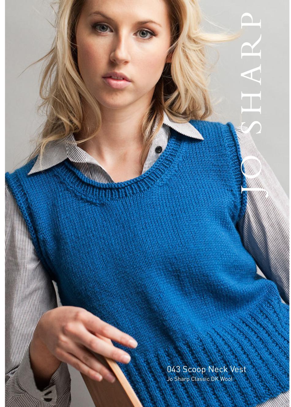 Jo Sharp Scoop Neck Vest Pattern, Knitting Pattern - Halcyon Yarn
