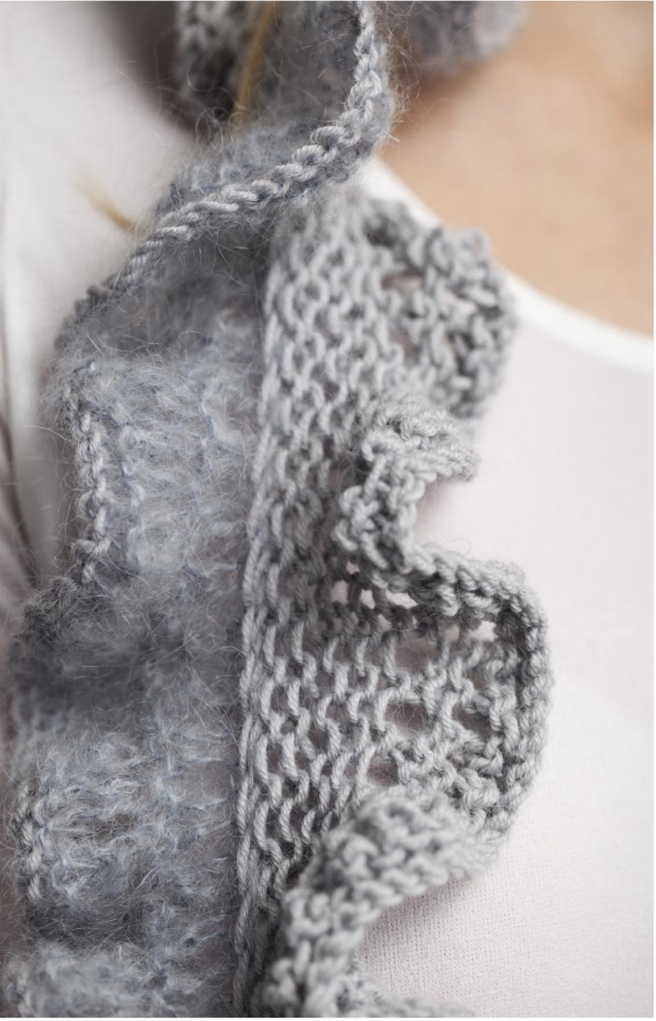 Knit Ruffle Scarf Pattern : Jo Sharp Ruffle Scarf Pattern, Knitting Pattern - Halcyon Yarn