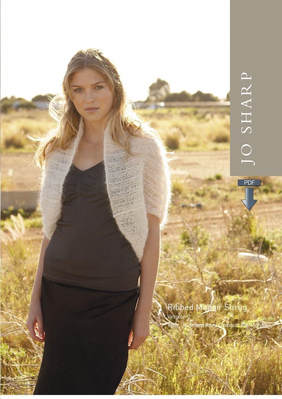 Jo Sharp Ribbed Mohair Shrug Pattern - Pattern Download, Knitting ...