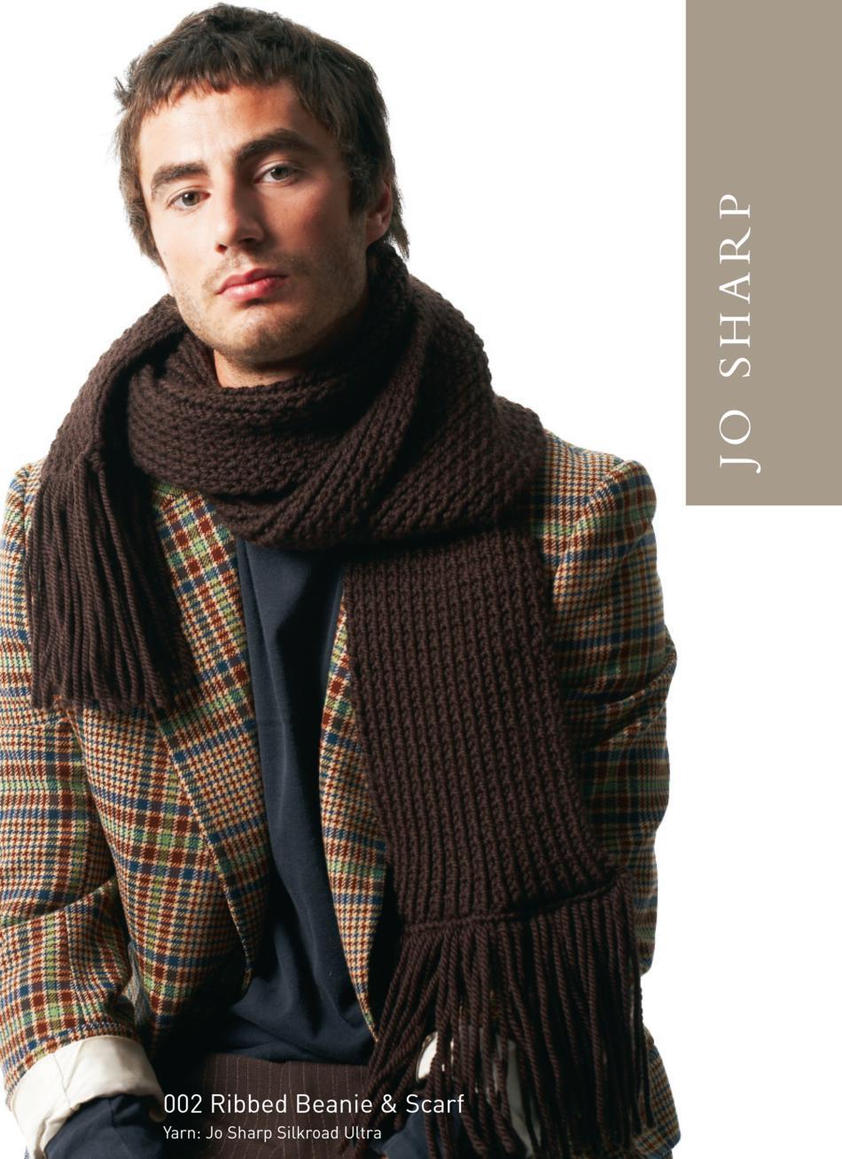 Jo Sharp Ribbed Beanie and Scarf Pattern, Knitting Pattern - Halcyon ...