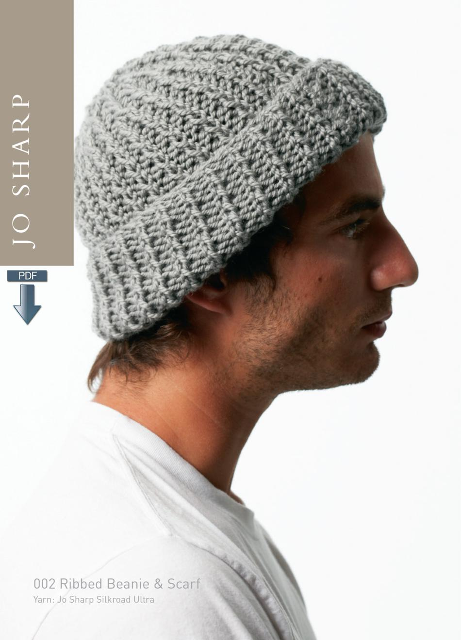 Knitting Pattern Ribbed Beanie : Jo Sharp Ribbed Beanie and Scarf Pattern - Pattern Download, Knitting Pattern...