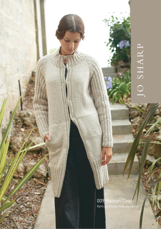 Free Hooded Scarf Knitting Pattern : Jo Sharp Raglan Coat and Jacket Pattern, Knitting Pattern - Halcyon Yarn