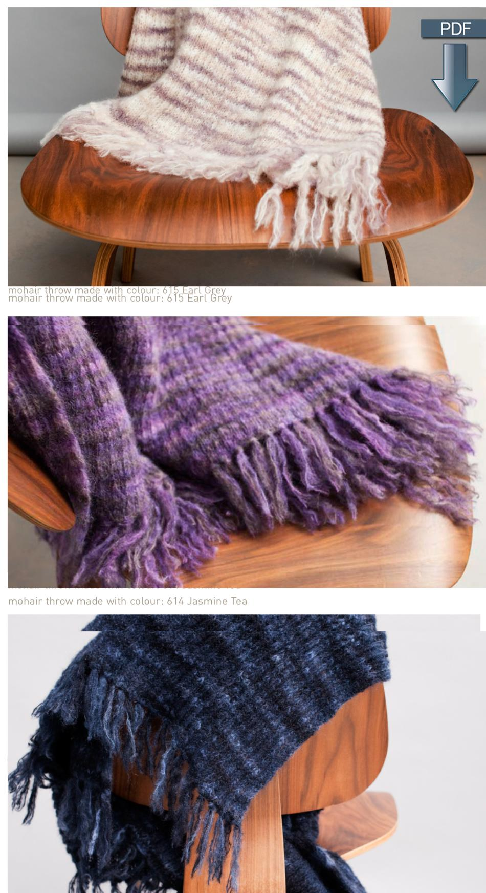 Jo Sharp Mohair Throw and Alpaca Throw Pattern - Pattern Download, Knitting P...