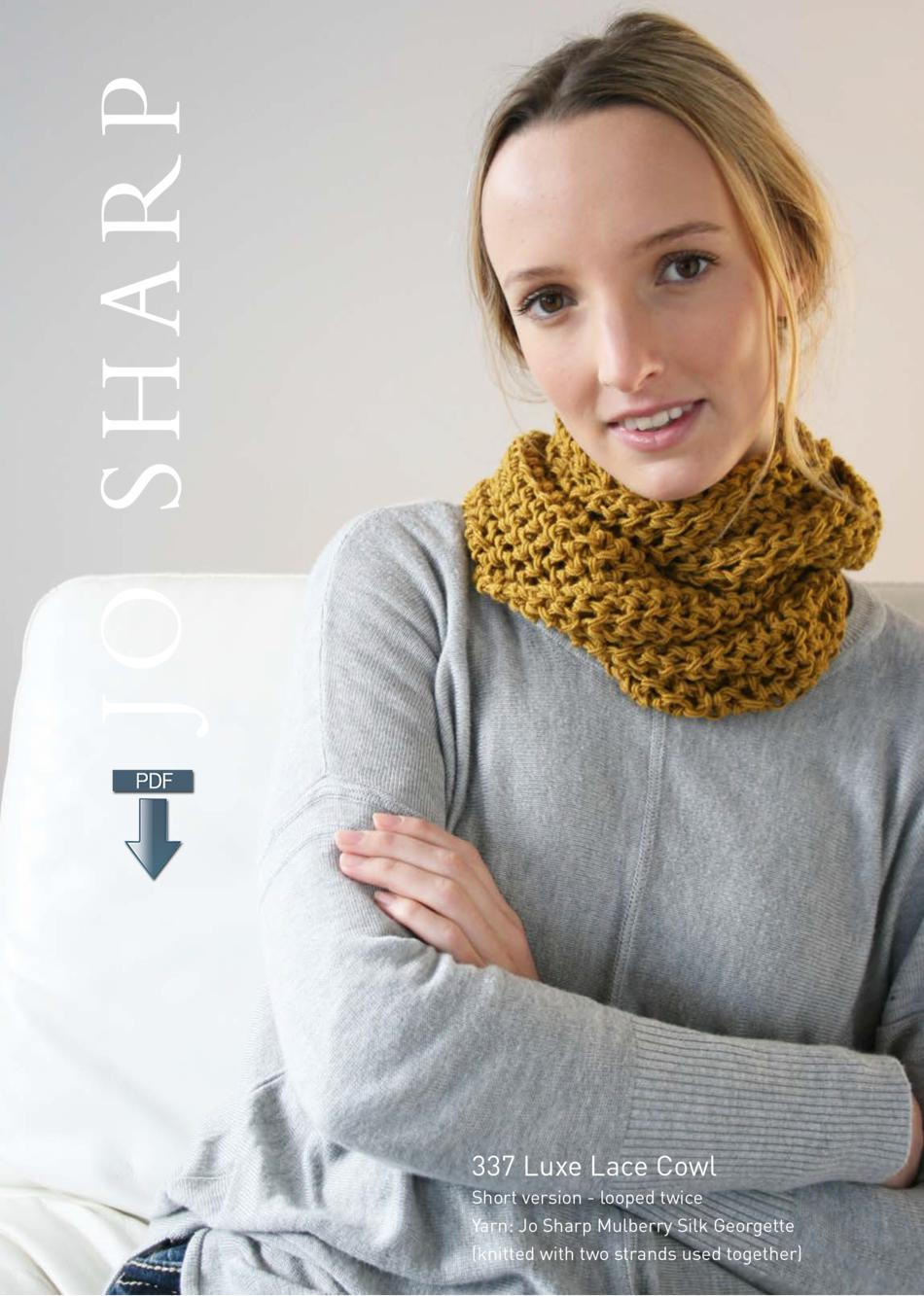 Knitting Patterns Jo Sharp Luxe Lace Cowl  Pattern Download
