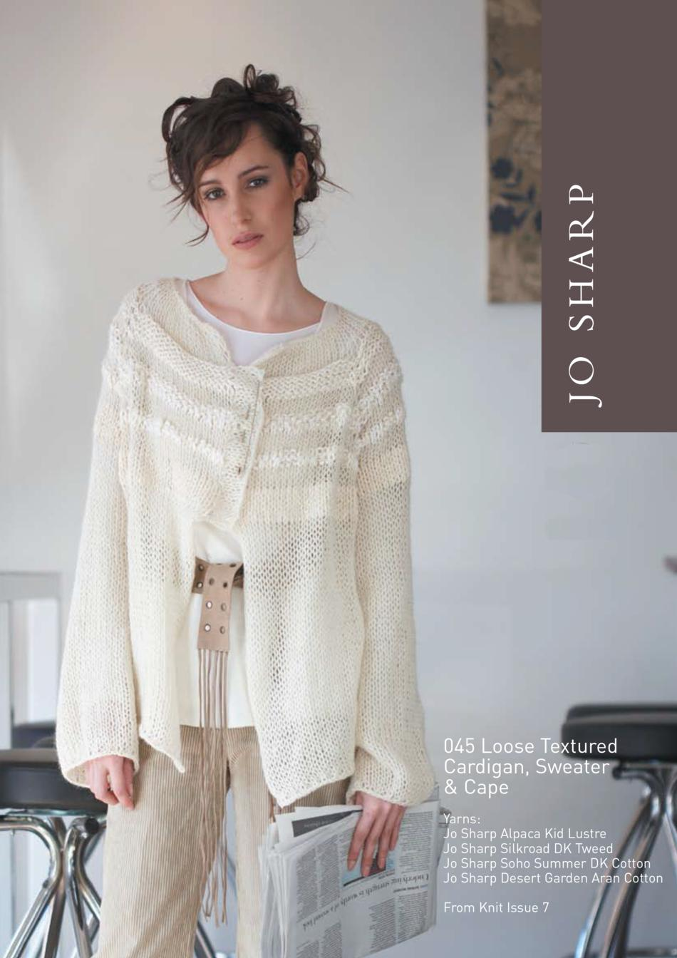 Jo Sharp Loose Textured Cape, Cardigan and Sweater Pattern, Knitting ...