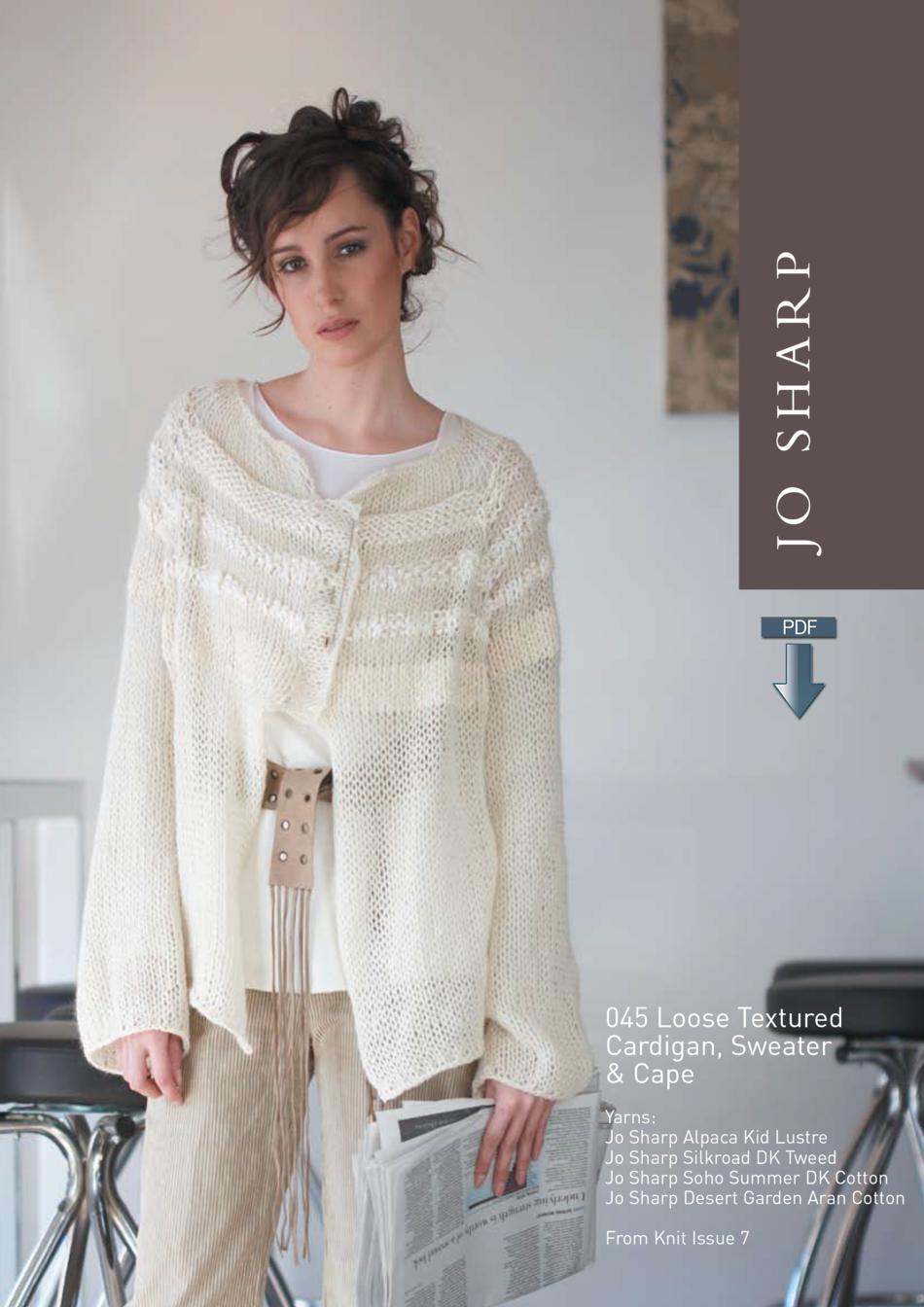 Knitting Patterns Jo Sharp Loose Textured Cape Cardigan and Sweater  Pattern Download
