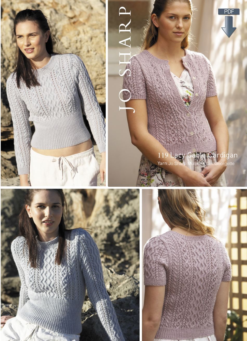 Jo Sharp Lacy Cable Cardigan - Pattern Download, Knitting Pattern ...