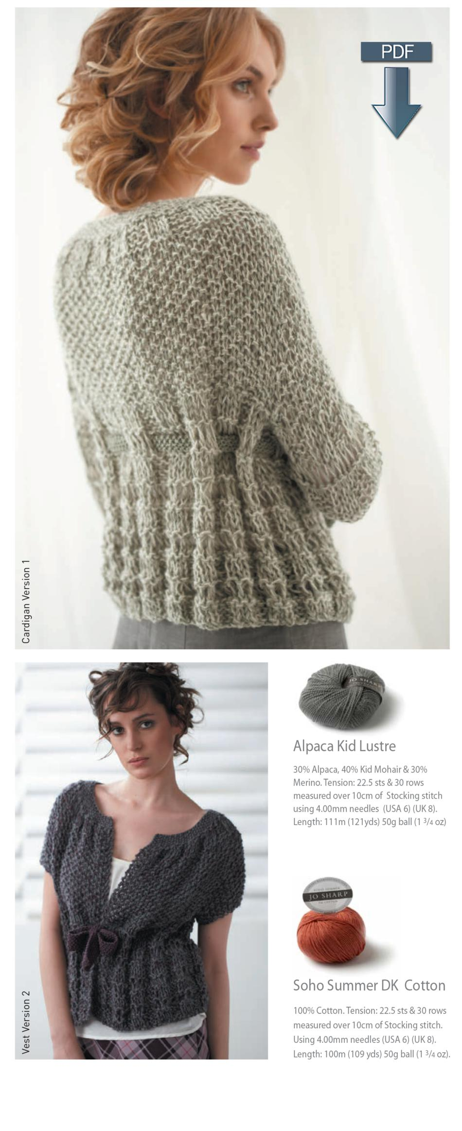 Jo Sharp Drop Stitch Vest And Cardigan Pattern Download Knitting