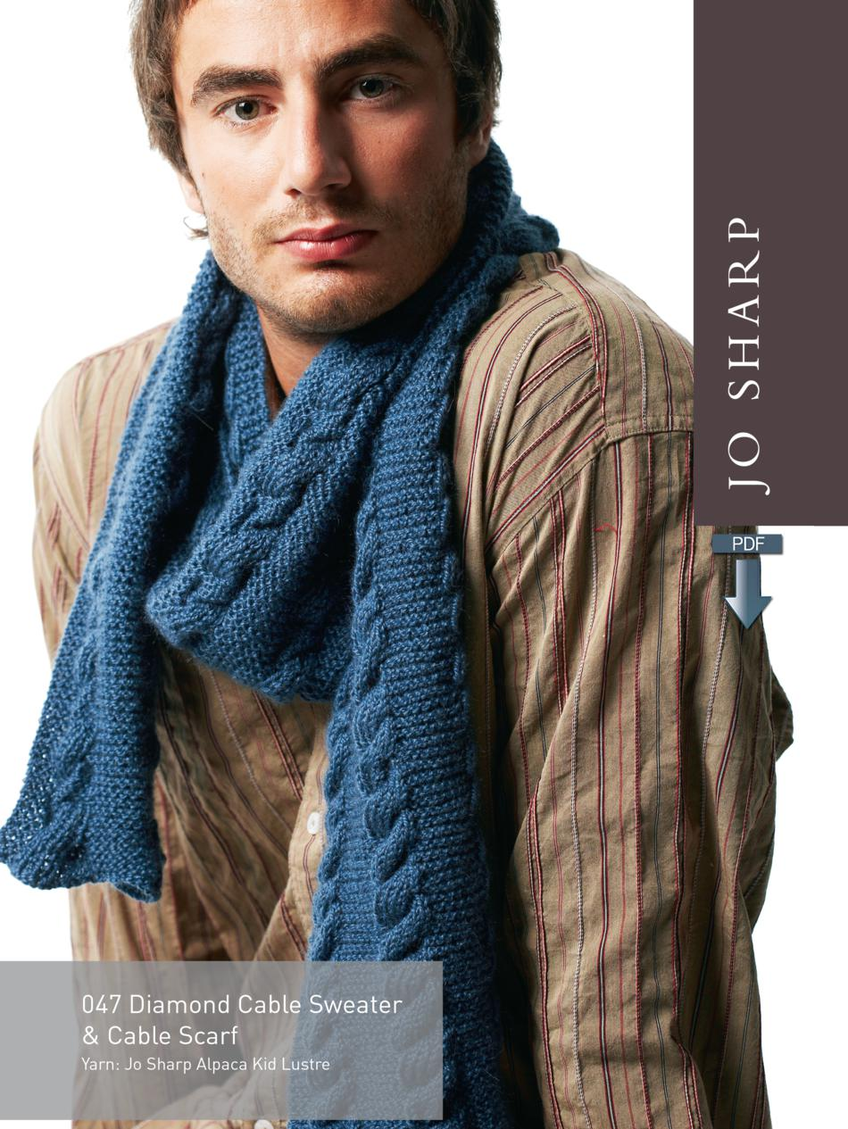 b7bc31b464996 Jo Sharp Diamond Cable Sweater and Cabled Scarf - Pattern Download (image A)