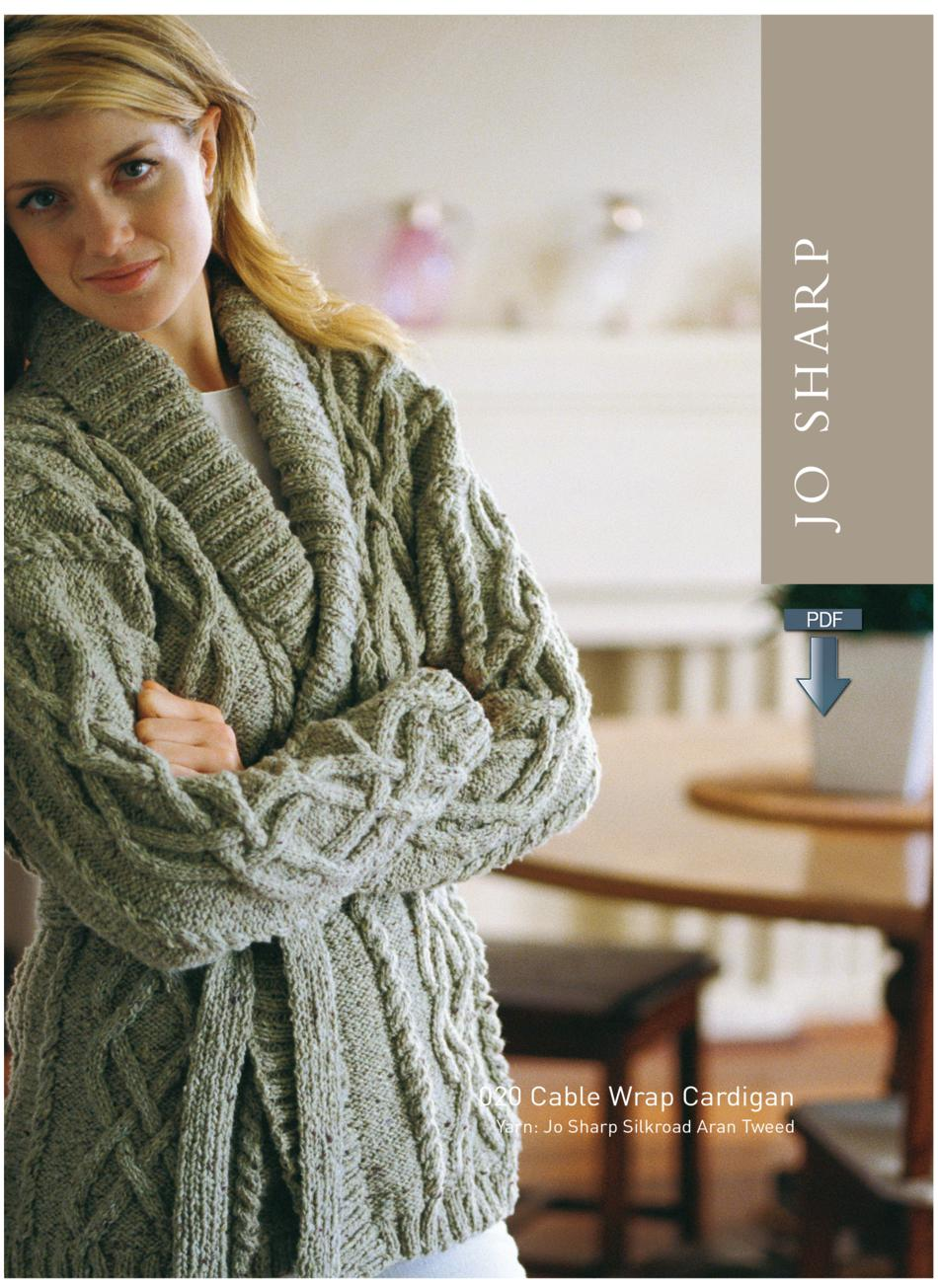 Knitting Pattern Wrap Cardigan : Jo Sharp Cable Wrap Cardigan - Pattern Download, Knitting Pattern - Halcyon Yarn