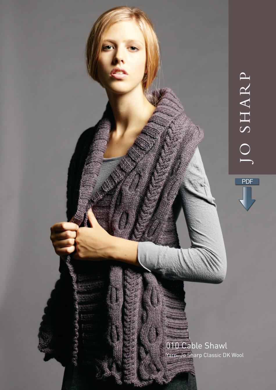 821d257c909630 Jo Sharp Cable Shawl plus Unisex V-Neck Sweater - Pattern Download Knitting  Pattern