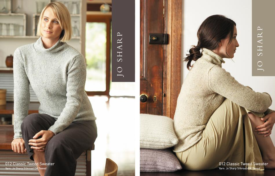 Knitting Patterns Jo Sharp Classic Tweed Sweater and Ribbed Cushions  Pattern
