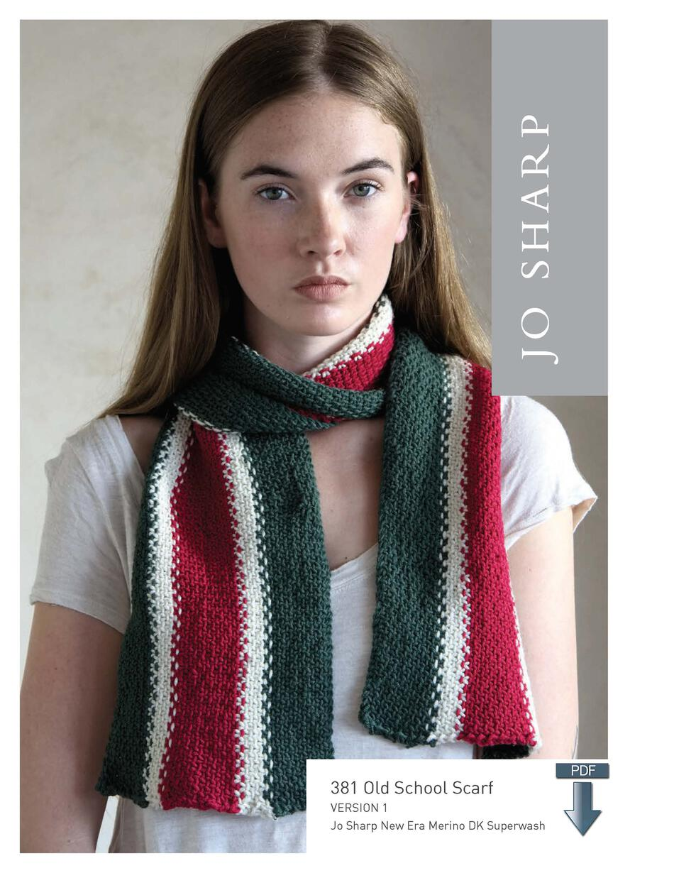 Knitting Patterns Jo Sharp Old School Scarf  Pattern Download
